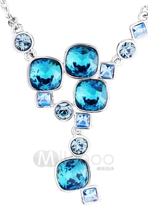 Milanoo.com | Romantic Light Blue Swarovski Crystal Alloy Necklace | Online Store Powered by Storenvy