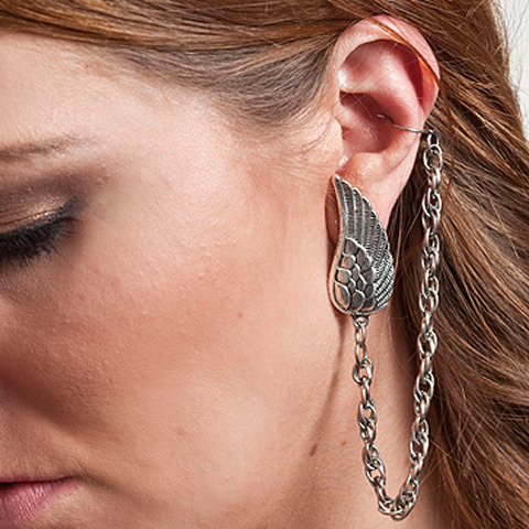 Cinkensta Silver Chain Wing Metal EAR CUFF Single Earring :  chain wing piercing silver
