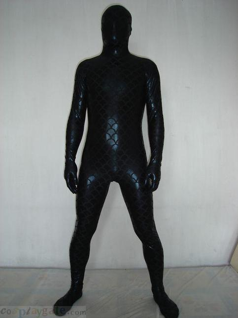 black zentai suit - Black Fish shiny metallic zentai suit - cheap black ...