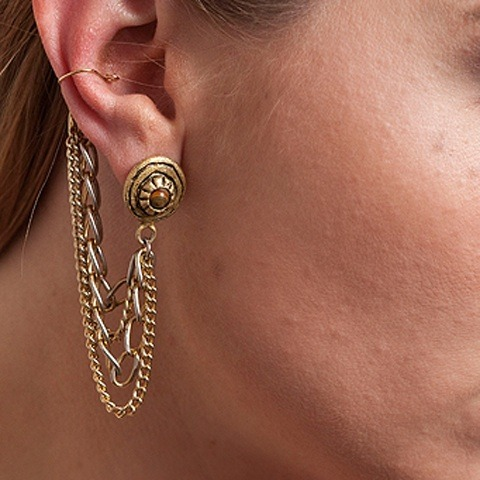 Cinkensta | Gold Chain Ear Cuff Earring |  :  jewelry ear cuff long chain