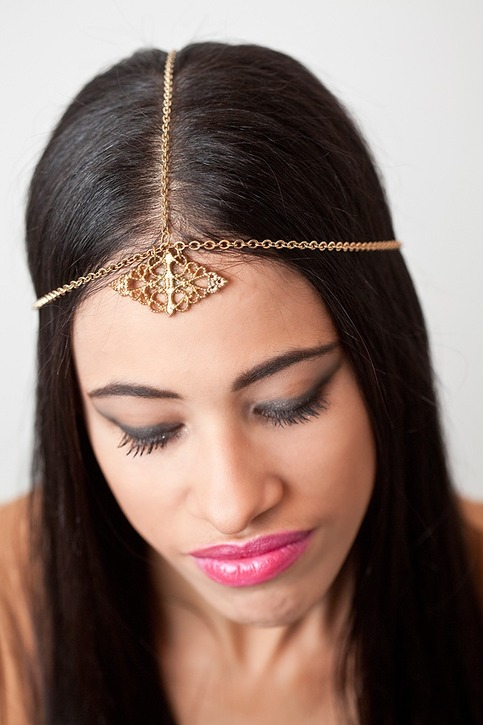 Cinkensta | Gold Chain HEADPIECE Headband  :  headband chain unique costume